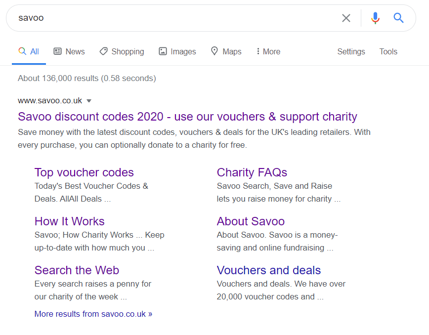 Savoo search engine results